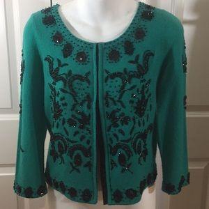 Emerald Green Beaded Sweater